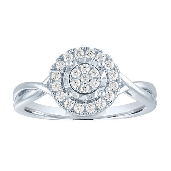 Womens Lab Grown Diamond Sterling Silver Cocktail Ring