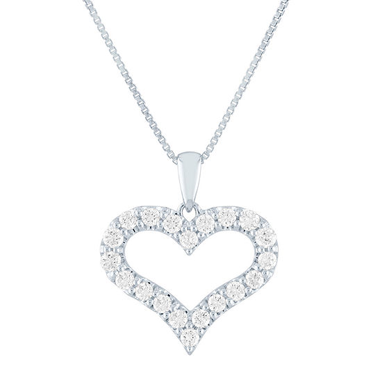 Womens 1/2 CT. T.W. Lab Grown Diamond Sterling Silver Heart Pendant Necklace