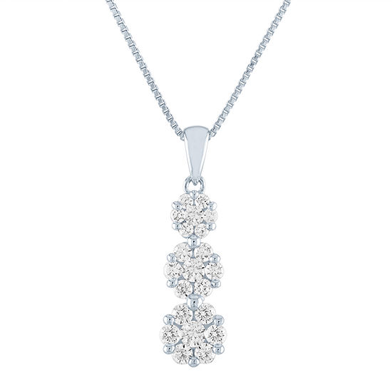 Womens 1/2 CT. T.W. Lab Grown Diamond Sterling Silver Pendant Necklace