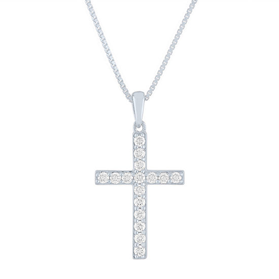 Womens 1/4 CT. T.W. Lab Grown Diamond Sterling Silver Cross Pendant Necklace