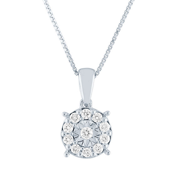Womens 1/4 CT. T.W. Lab Grown Diamond Sterling Silver Pendant Necklace