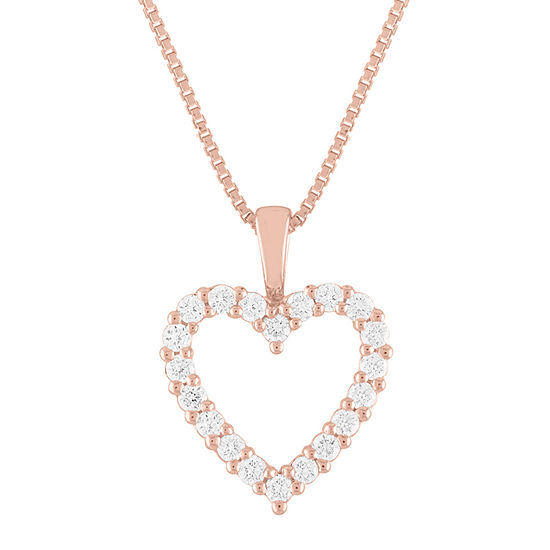 Womens 1/4 CT. T.W. Lab Grown Diamond 14K Rose Gold Over Silver Heart Pendant Necklace