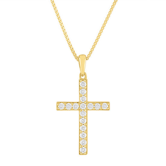 Womens 1/4 CT. T.W. Lab Grown Diamond 14K Gold Over Silver Pendant Necklace