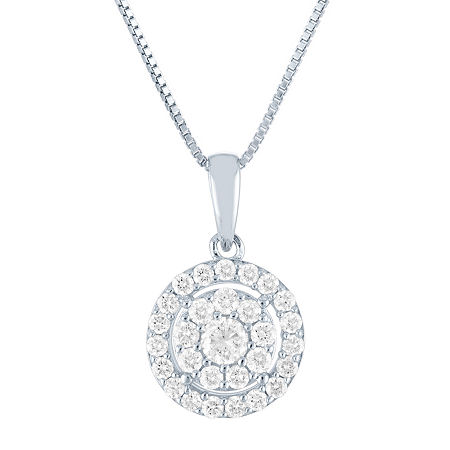 Womens 1/2 CT. T.W. Lab Grown Diamond Sterling Silver Pendant Necklace, One Size