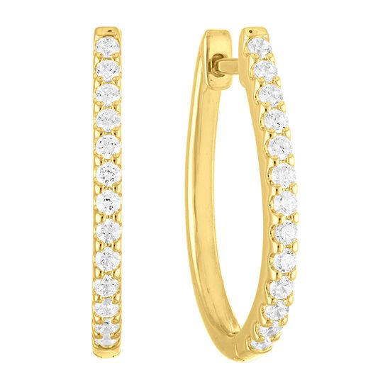 1/2 CT. T.W. Lab Grown Diamond 14K Gold Over Silver 23mm Hoop Earrings