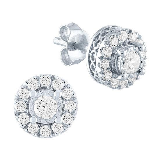 1/2 CT. T.W. Lab Grown Diamond Sterling Silver 7.5mm Stud Earrings