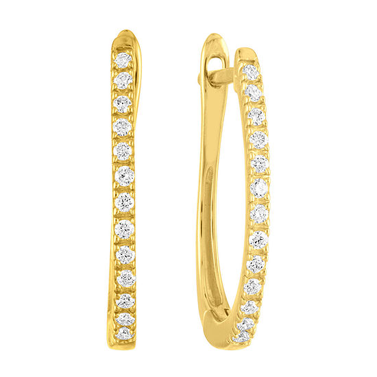 1/4 CT. T.W. Lab Grown Diamond 14K Gold Over Silver 22.4mm Hoop Earrings