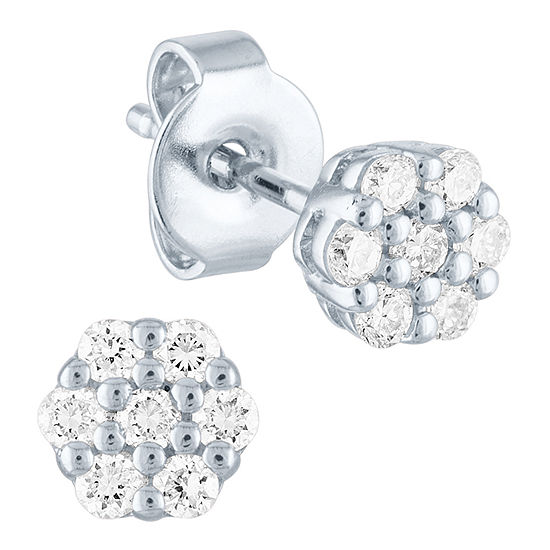 1/4 CT. T.W. Lab Grown Diamond Sterling Silver 5.3mm Stud Earrings