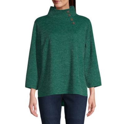 St. John's Bay Womens Long Sleeve Button Mock Neck Top