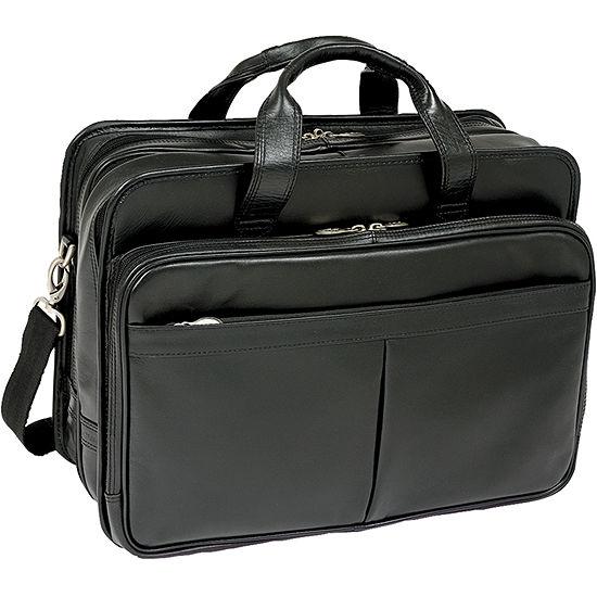 Mckleinusa Walton 17 Leather Expandable Double Compartment Laptop Briefcase W Removable Sleeve