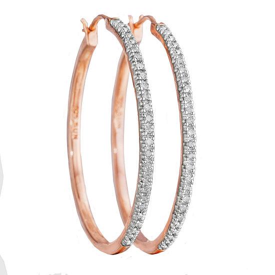 T W Diamond 14k Rose Gold Over Sterling Silver Hoop Earrings
