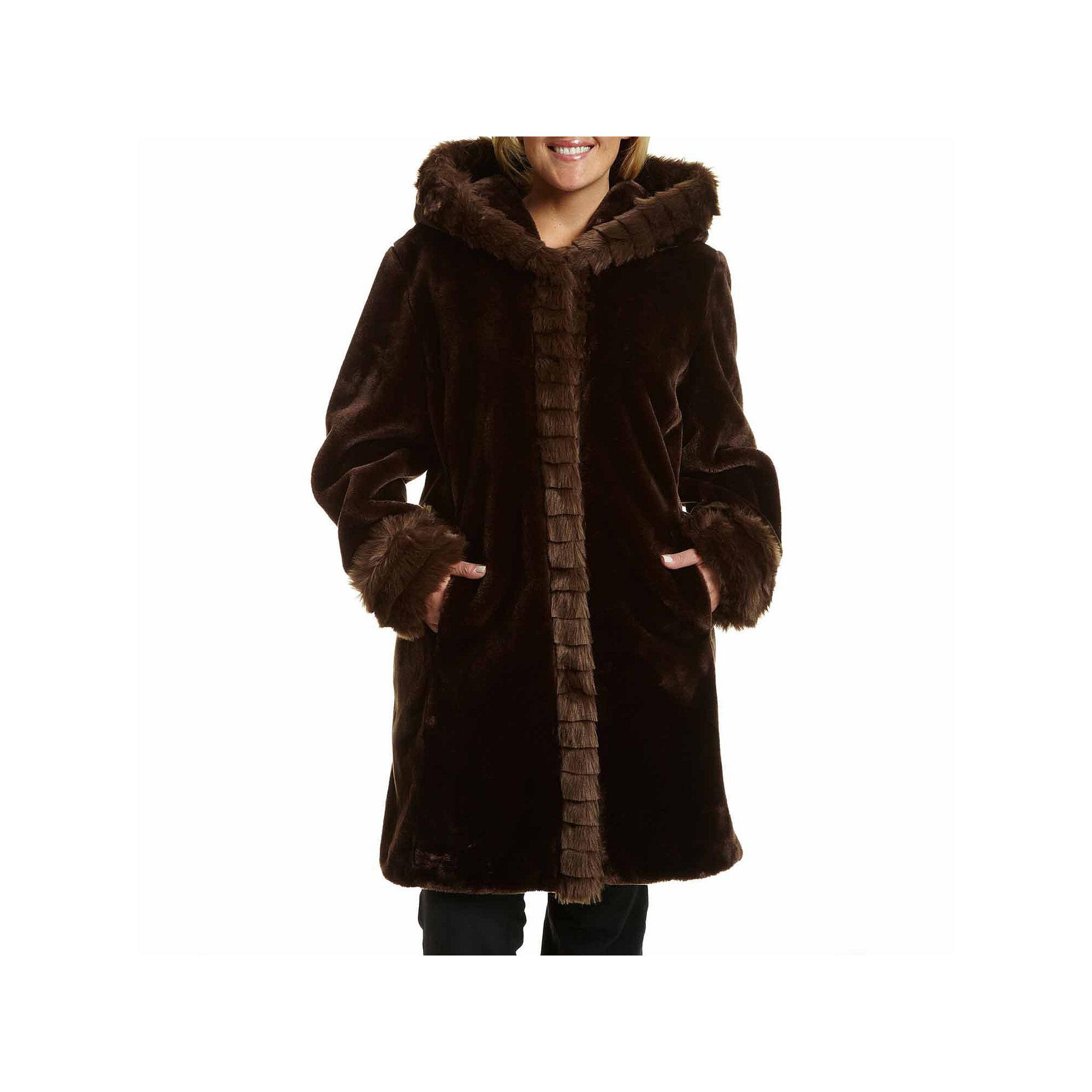Excelled Faux-Fur Short Solid Coat - Plus plus size,  plus size fashion plus size appare