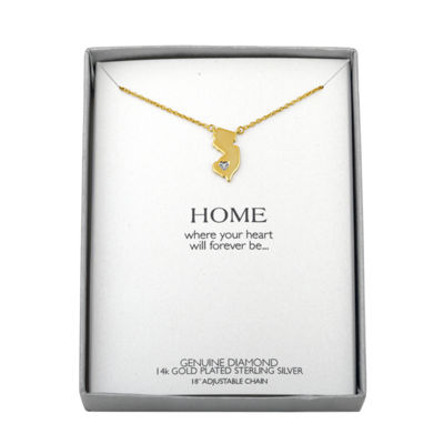 Diamond Accent 14K Yellow Gold over Silver New Jersey Pendant Necklace