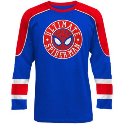 Novelty Season Mens Crew Neck Long Sleeve Spiderman Graphic T-Shirt