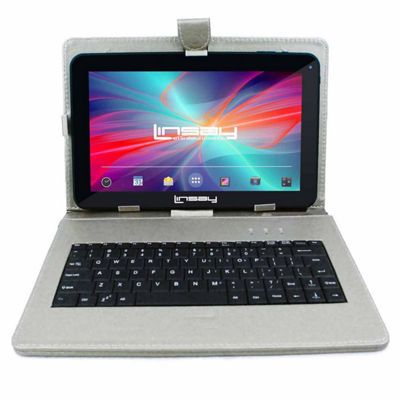 LINSAY® New 10.1'' Quad Core 1024x600HD 16GB Android 6.0 Tablet with Silver Leather Keyboard Case