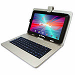 "LINSAY 10.1"" Quad-Core 2GB RAM 16GB Android 9.0 Pie Tablet with Silver Keyboard Case"