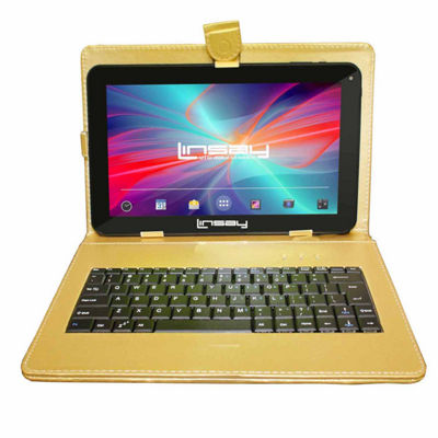 LINSAY® New 10.1'' Quad Core 1024x600HD 16GB Android 6.0 Tablet with Golden Leather Keyboard Case