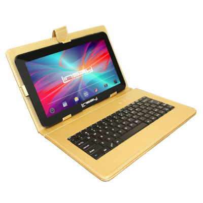 LINSAY® New 10.1'' Quad Core 1024x600HD 8GB Tablet with Golden Leather Keyboard Case