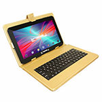 "LINSAY 10.1"" Quad-Core 2GB RAM 16GB Android 9.0 Pie Tablet with Golden Keyboard Case"