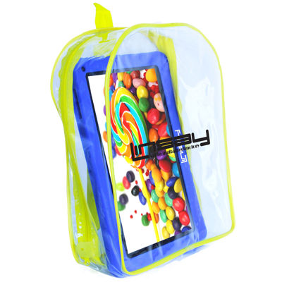 "LINSAY® New 10.1"" Kids Funny Tab Quad Core 1024x600 HD 16GB Android 6.0 with Blue Kids Defender Case and Kids Bag Pack"