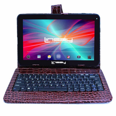 LINSAY® New 10.1'' Quad Core 1024x600HD 16GB Android 6.0 Tablet with Brown Crocodile Style Leather Keyboard Case