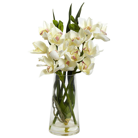 Nearly Natural Cymbidium Orchid With Vase