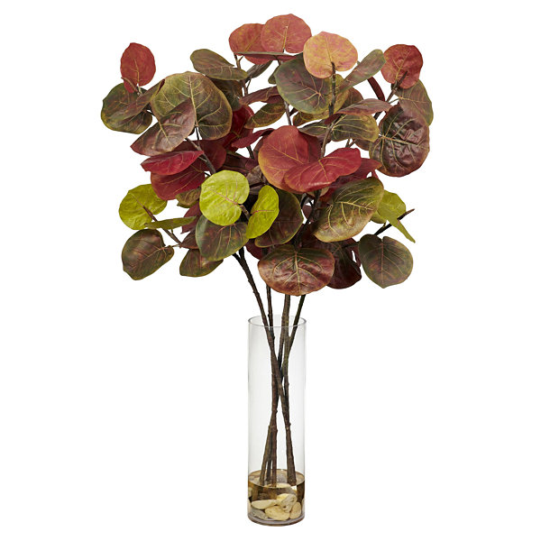 Nearly Natural Giant Sea Grape Leaf Faux-Silk Plant with Cylinder