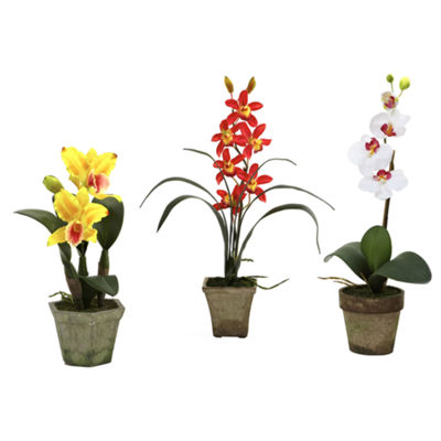 Nearly Natural Potted Orchid Mix - Set of 3