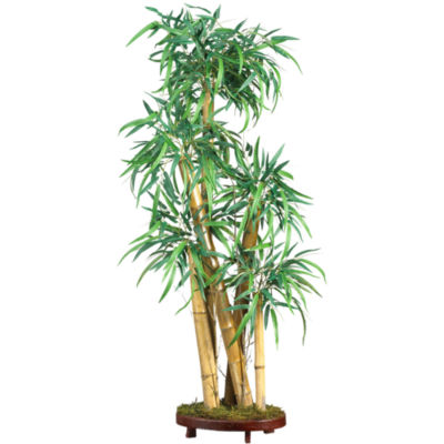 Mini Bamboo Palm Silk Plant with Decorative Vase