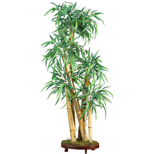 Mini Bamboo Palm Silk Plant with Decorative Vase