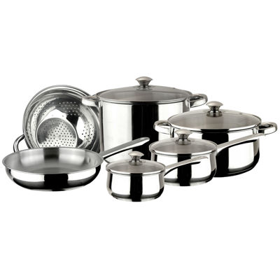 10-pc. Stainless Steel Dishwasher Safe Cookware Set