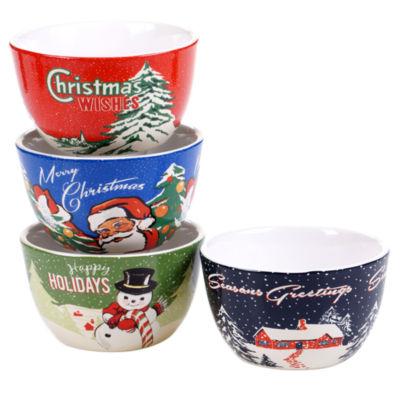 Certified International Retro Christmas 4-pc. Ice Cream Bowl