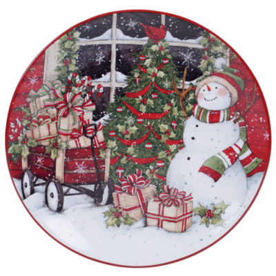 Certified International Snowman'S Sleigh Serving Platter