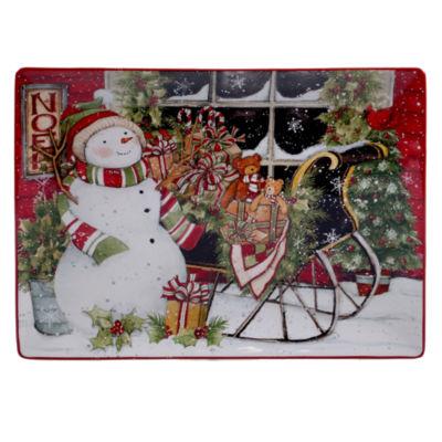 Certified International Snowman'S Sleigh Serving Platter