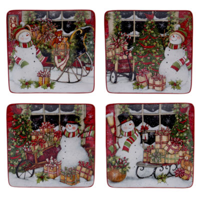 Certified International Snowman'S Sleigh 4-pc. Dessert Plate