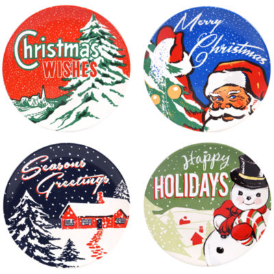 Certified International Retro Christmas 4-pc. Dessert Plate