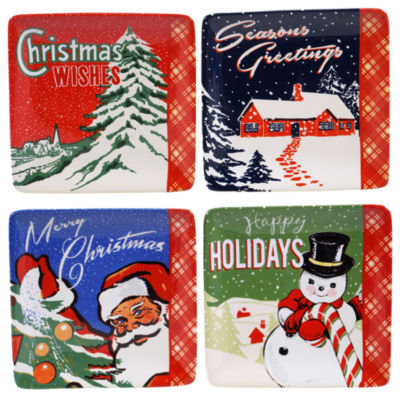Certified International Retro Christmas 4-pc. Appetizer Plate