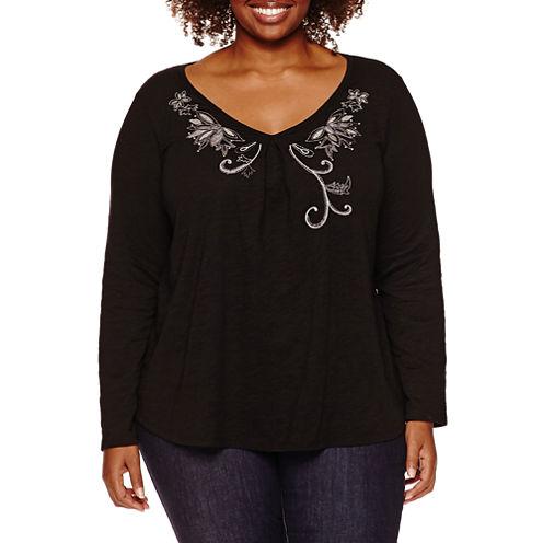 St. John's Bay Long Sleeve V Neck T-Shirt-Womens Plus