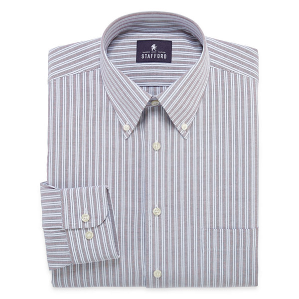 Stafford long sleeve travel wrinkle free oxford dress for Stafford dress shirts fitted