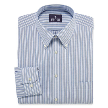 Stafford long sleeve travel wrinkle free oxford dress for Stafford big and tall shirts