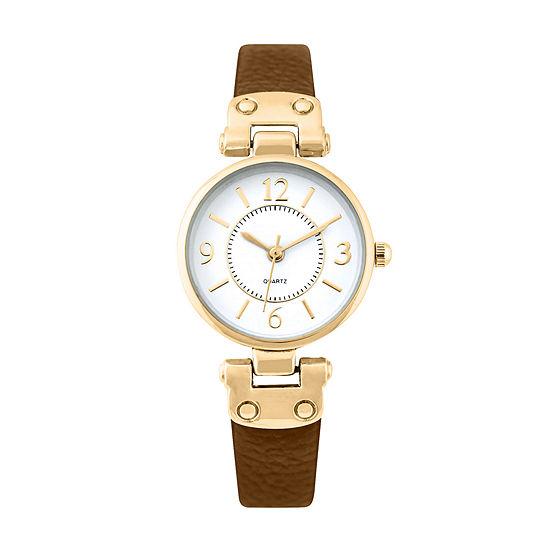 Mixit Womens Brown Strap Watch-Pts1064gdbr