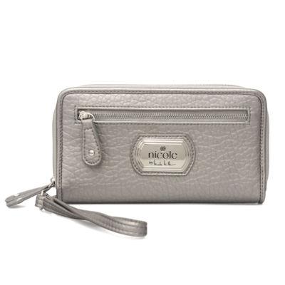 Nicole By Nicole Miller Cara Triple-Zip Studded Zip Around Wallet