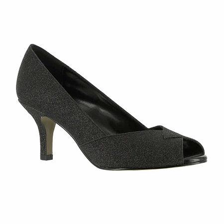 Easy Street Womens Ravish Pumps Kitten Heel, 7 1/2 Wide, Black