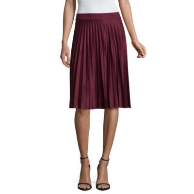 Liz Claiborne Suede Pleated Skirt Talls