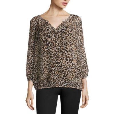 Liz Claiborne 3/4 Sleeve Woven Blouse-Talls