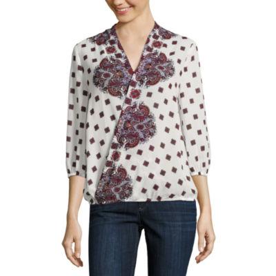 Liz Claiborne 3/4 Sleeve V Neck Woven Blouse-Talls