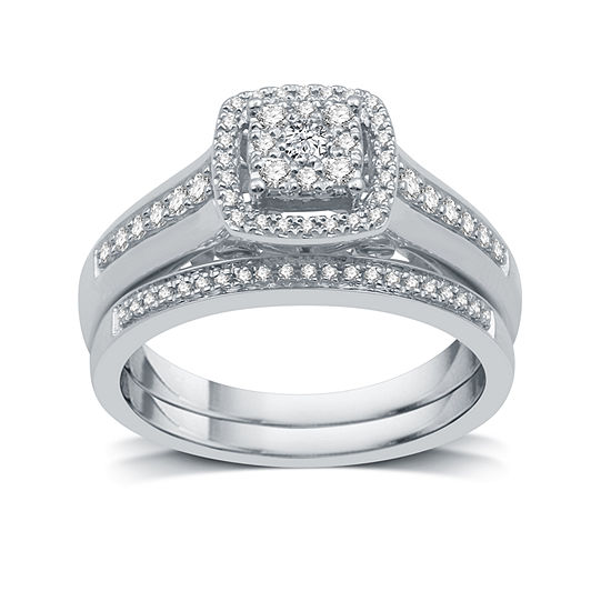 I Said Yes I Said Yes Womens 3/8 CT. T.W. Genuine White Diamond Platinaire Bridal Set