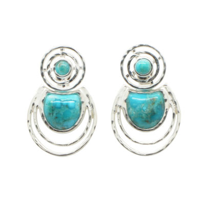 Silver Elements By Barse Lab Created Blue Turquoise Sterling Silver Earring Jackets
