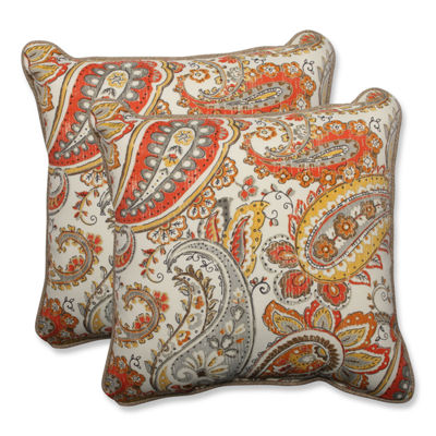 Pillow Perfect Hadia Sunset Square Outdoor Pillow- Set of 2