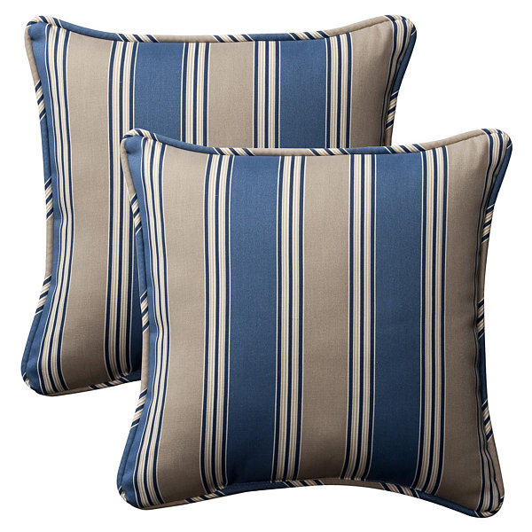 Pillow Perfect Hamilton Square Outdoor Pillow - Set of 2